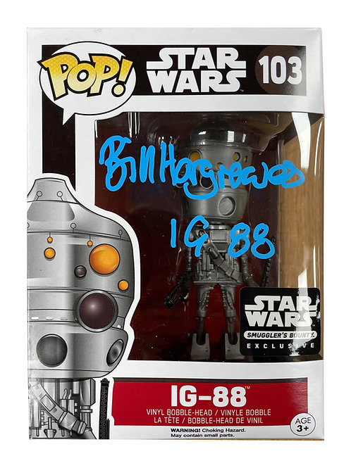 IG-88 Packaged Funko Pop Figure Signed In Blue Pen By Bill Hargreaves