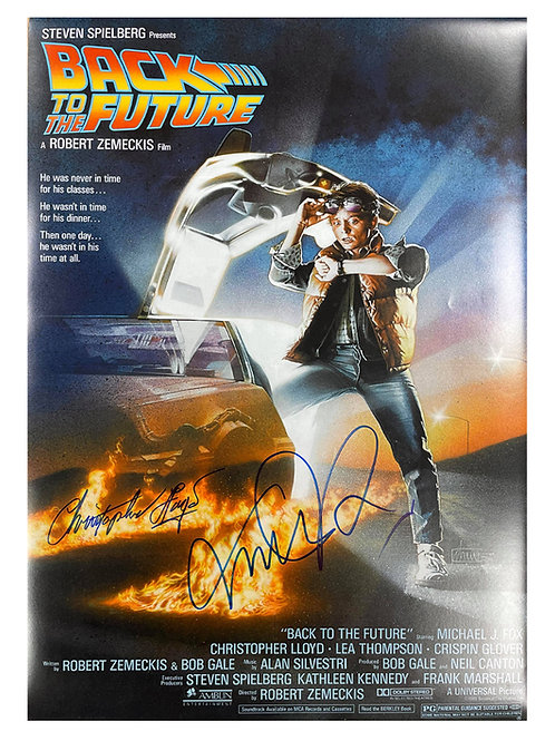 A2 Back to the Future Poster Signed in Black by Michael J Fox, Christopher Lloyd