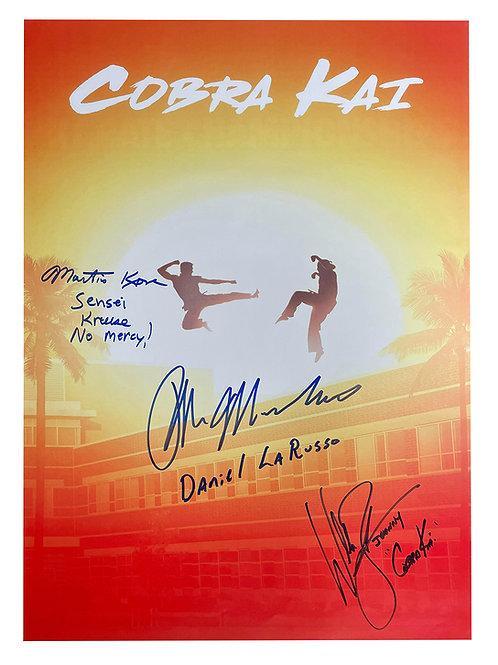A2 Cobra Kai Poster Signed by Ralph Macchio, William Zabka & Martin