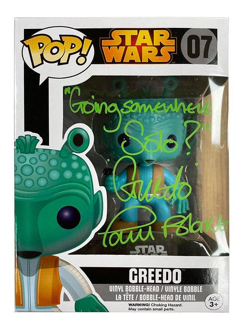Greedo Star Wars Funko Pop Figure Signed in Light Green Pen By Paul Blake