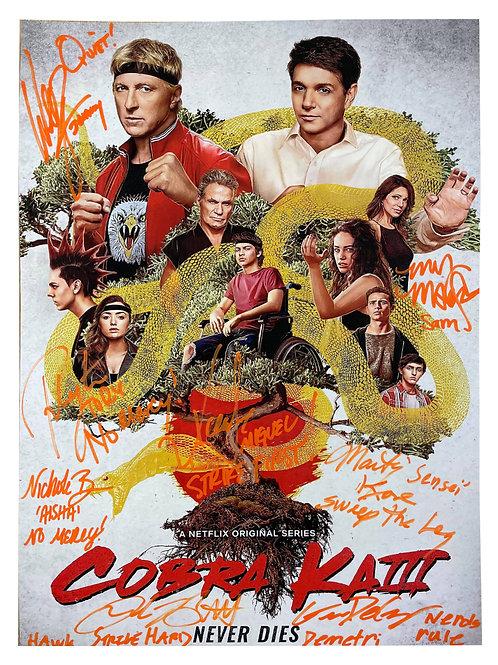 A2 Cobra Kai Poster Signed by 8 Cast Members