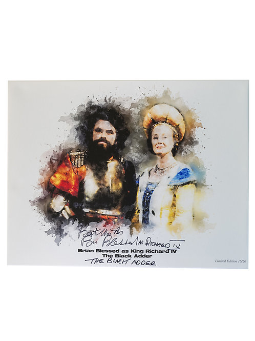 A2 Printed The Black Adder Canvas Signed By Brian Blessed