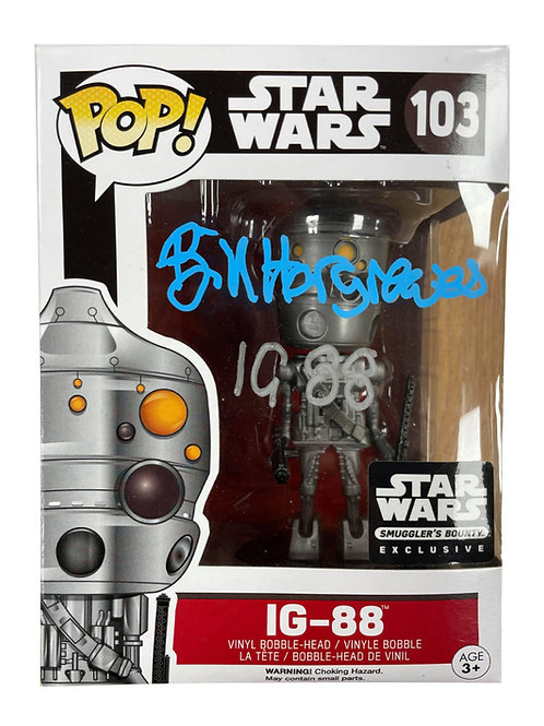IG-88 Packaged Funko Pop Figure Signed In Blue & Silver Pen By Bill Hargreaves