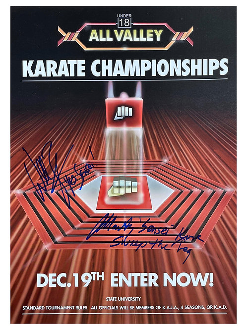 A3 Karate Kid Poster Signed by William Zabka and Martin Kove