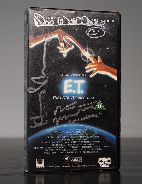 Vintage VHS Video Tape Of E.T. Signed By Thomas, Wallace & MacNaughton