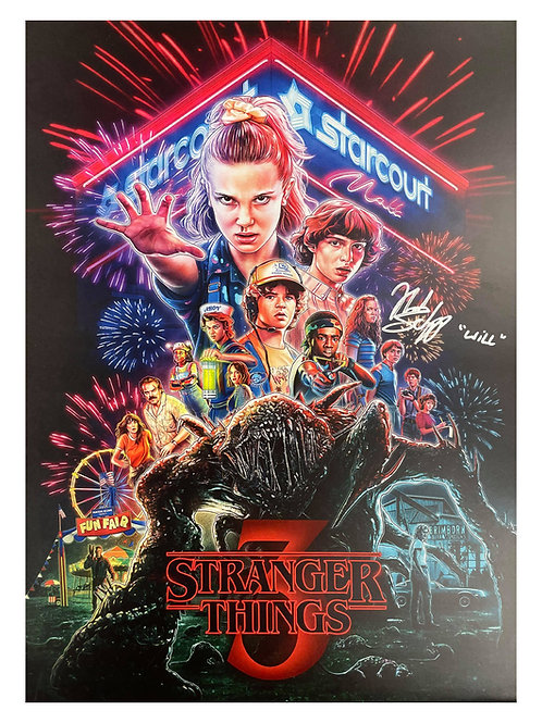 A3 Stranger Things S3 Poster Signed By Noah Schnapp