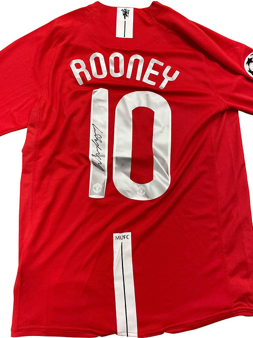 2008 UEFA Champions League Final Shirt Signed By Wayne Rooney