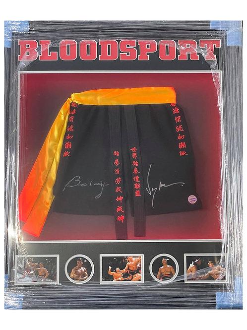 LED Lit Framed Bloodsport Shorts Signed By JCVD & Bolo Yeung