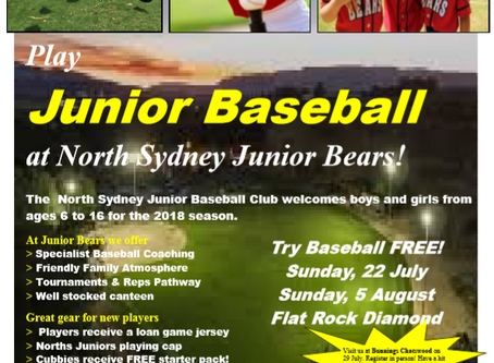 Come Try T-Ball & Baseball FREE!