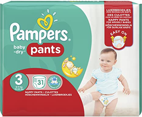 Pampers Baby-dry Nappy Pants Size 3, 6-11kg 31s
