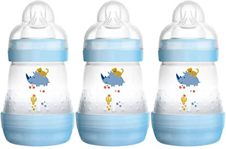 MAM Anti-Colic Self-Sterilising Bottle Newborn 3 Pack Blue 160ml