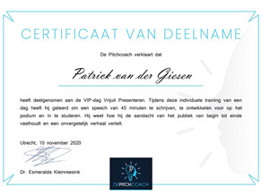 Certificaat - De Pitchcoach