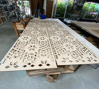 """1/2"""" MDF laser cut and painted with Math"""