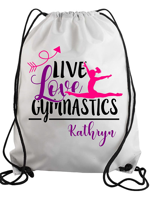 Personalized Live Love Gymnastics Drawstring Backpack