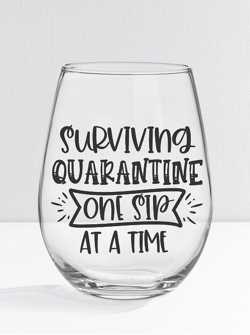 personalized products and gifts funny wine glass quarantine