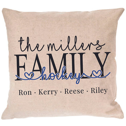 Personalized Hockey Family Pillow