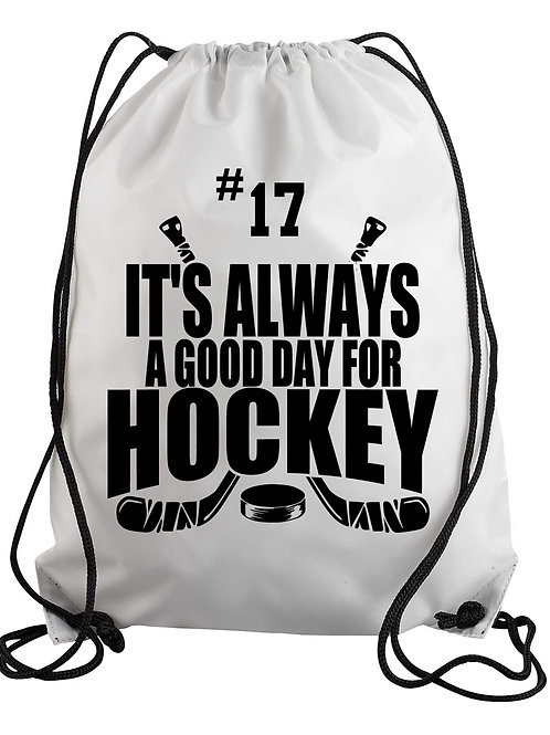 Personalized - It's Always a Good Day for Hockey Drawstring Backpack