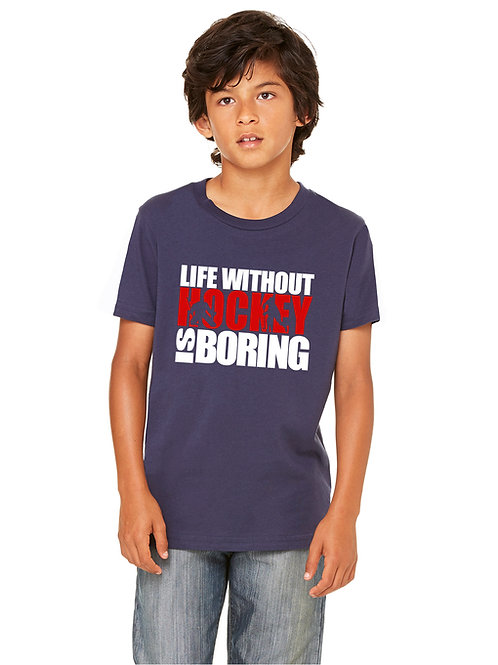 personalized products and gifts life without hockey t-shirt blue