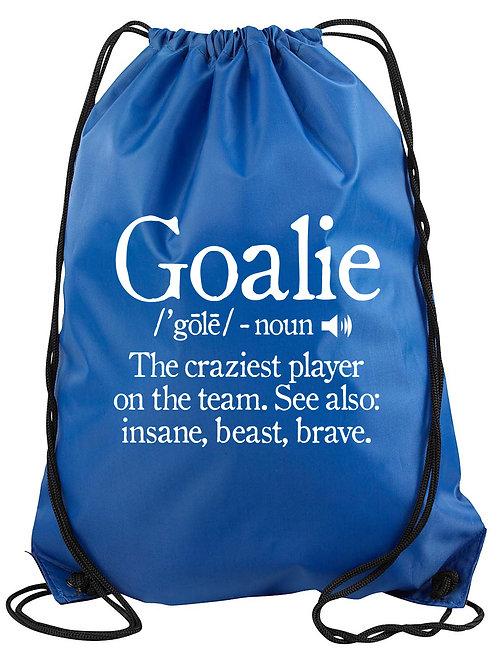 Goalie Definition Drawstring Backpack