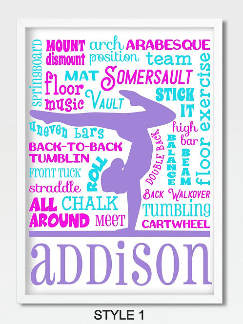 PERSONALIZED Gymnastics Word Art in Frame