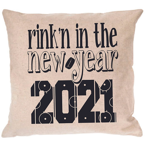 Rink'n in the New Year Hockey Pillow