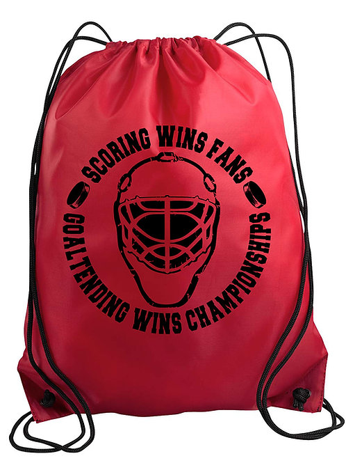 Goaltending Wins Championships Drawstring Backpack
