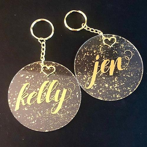Gold Flecks Keychain with Heart