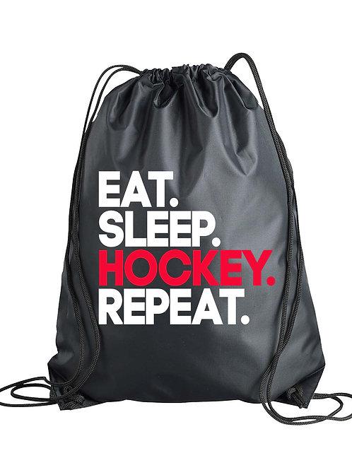 Eat.Sleep.HOCKEY.Repeat. Drawstring Backpack