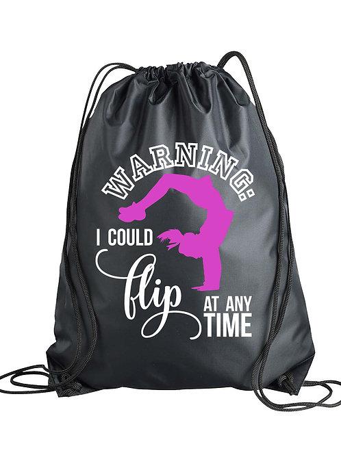 Warning: May Flip at Anytime Drawstring Backpack