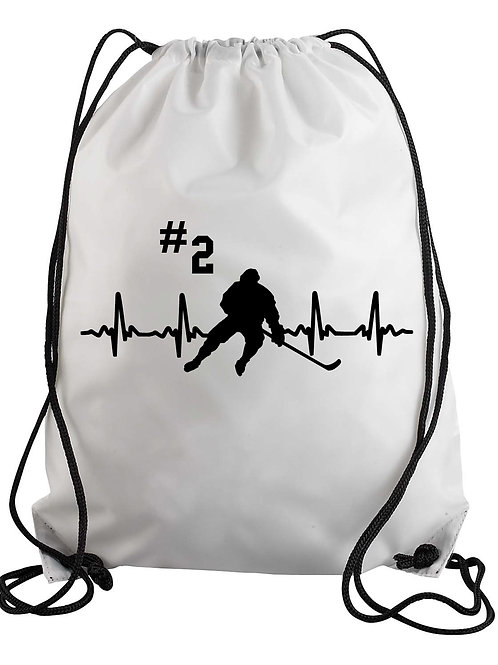 Personalized Hockey Heartbeat Drawstring Backpack