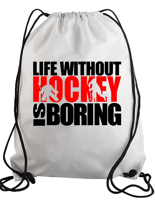 Life Without Hockey Drawstring Backpack