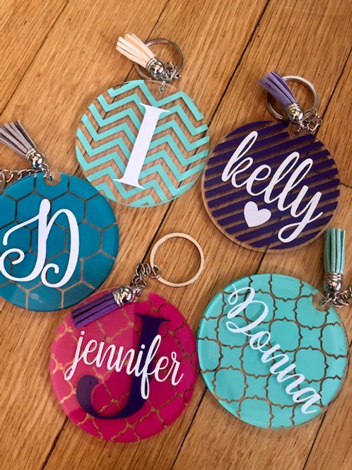 Personalized Patterned Keychain with Tassel