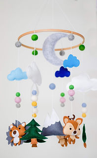 Nested Check Woodland Creatures Crib Mob