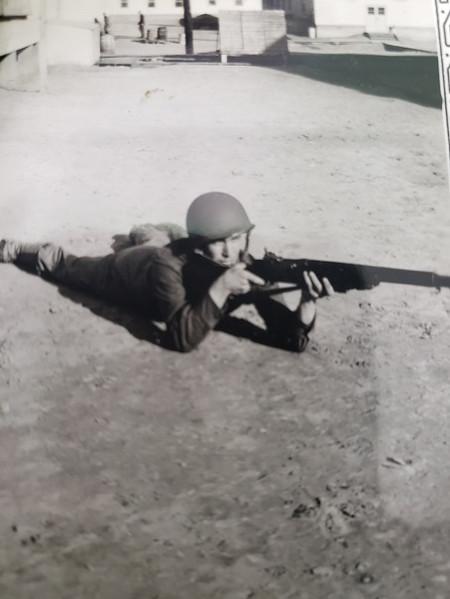 Joe with Army rifle