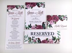 Maroon Floral Wedding Invitations