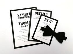 Black & White With Bow Tie Invite