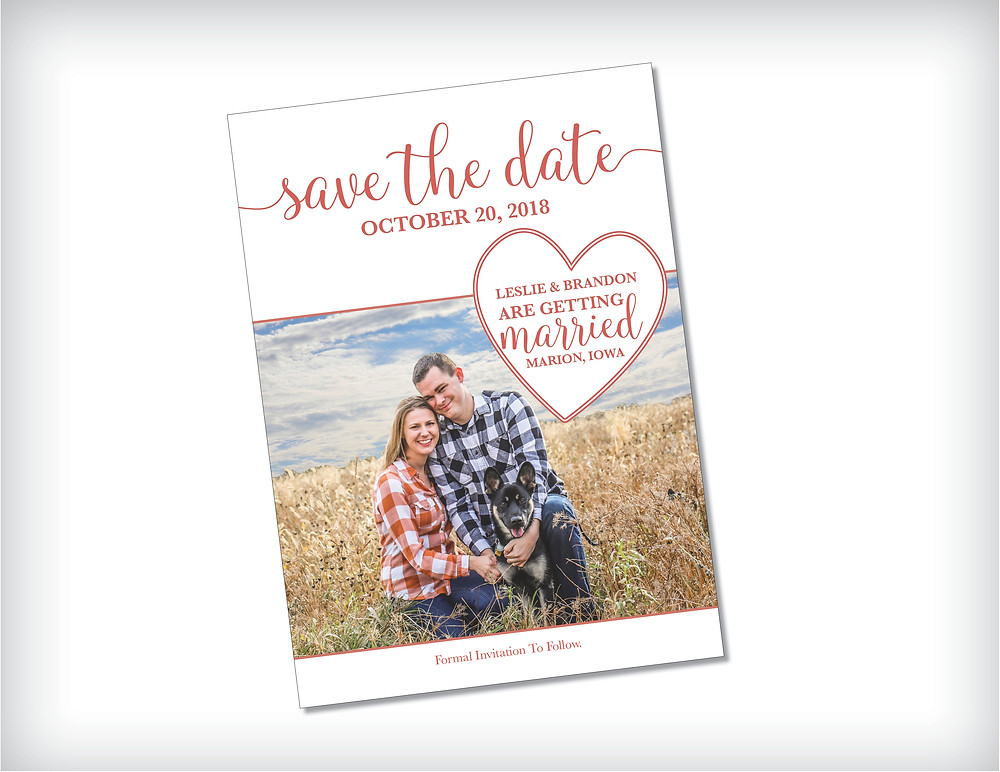 Simple Heart Save The Date Card