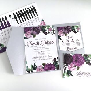 Floral Roses Wedding Invitation Purple B