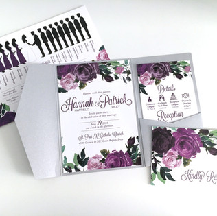 Floral Roses Wedding Invitation Purple B