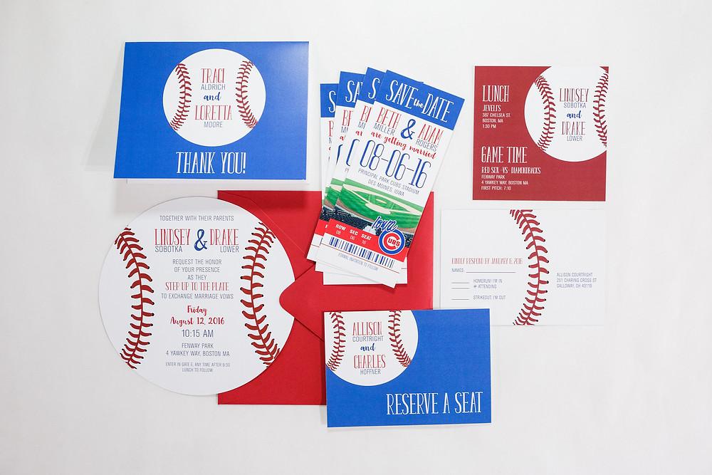 baseball wedding invitation, baseball save the date, baseball invitation, Chicago Cubs Wedding, MLB Wedding Invitations