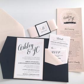 Navy Coral Wedding Invitation Suite