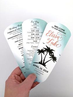 Beach Wedding Fan Program