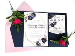 Geometric Floral Invitation Suite Navy and Blush