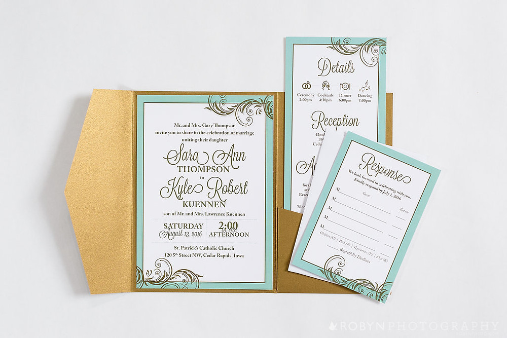 mint to be wedding invitation suite, mint gold invitation, church wedding, cedar rapids iowa wedding