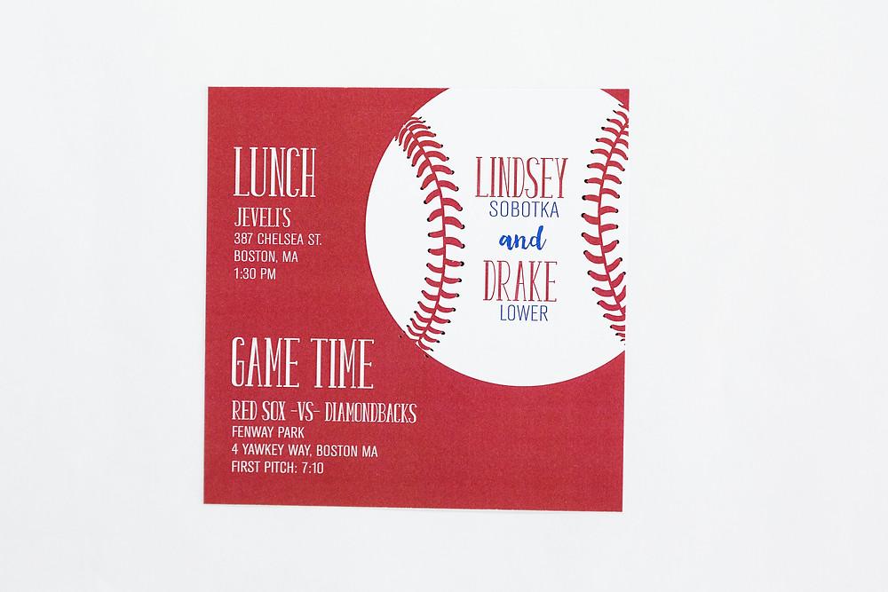 Stadium wedding invitation, baseball stadium details card, wedding invitation
