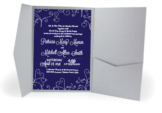 Navy & Silver Diamond Invitation