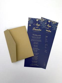 Tall Navy Wedding Program