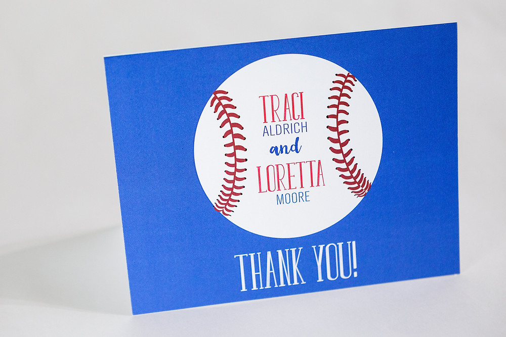baseball party thank you card, baseball invitation, baseball birthday party