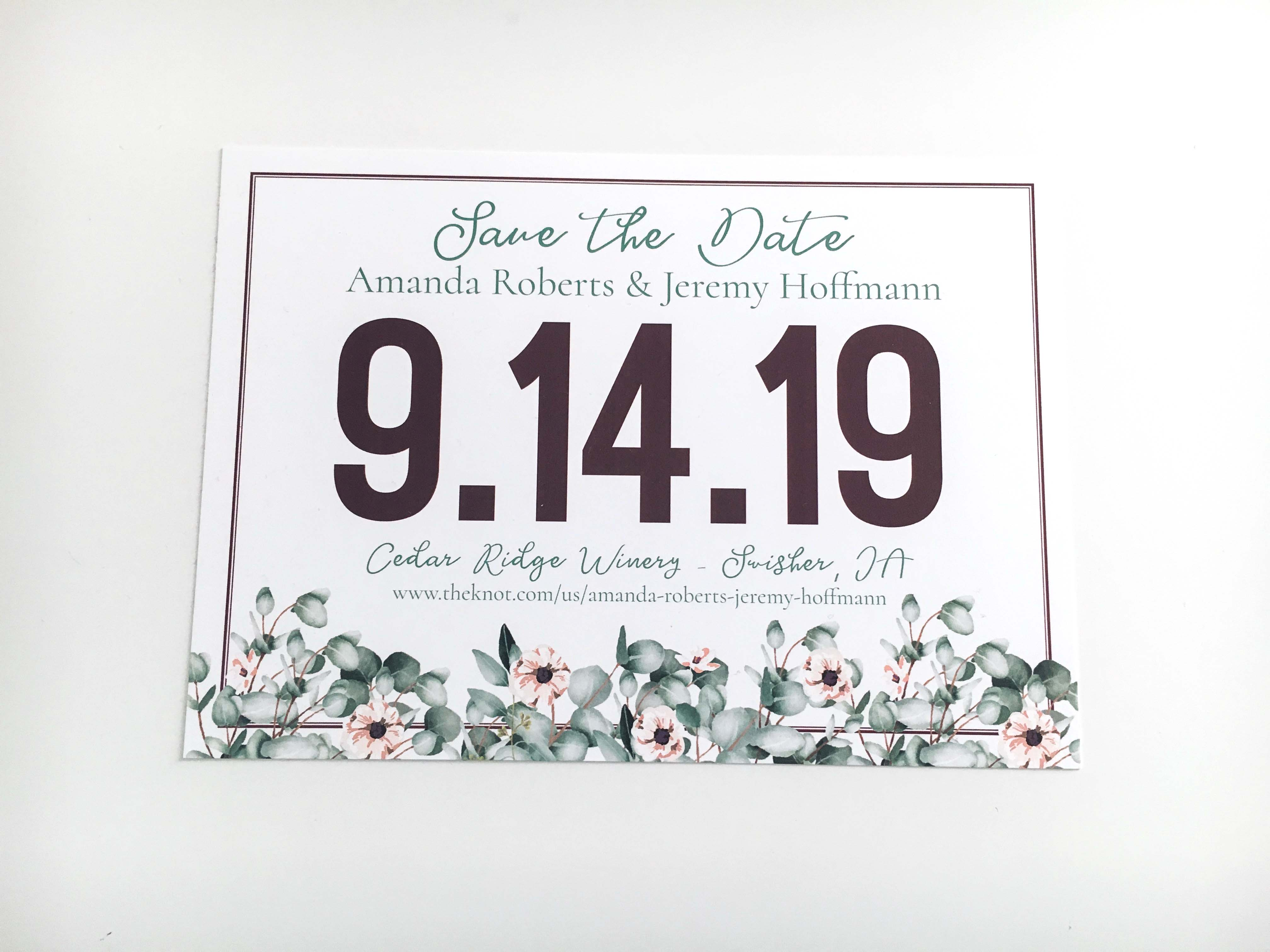 Eucalyptus & Flower Save The Date