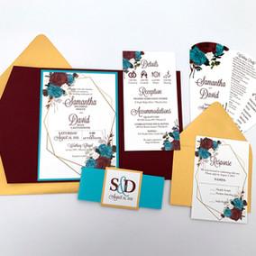 Floral & Geometric Frame Wedding Invitation